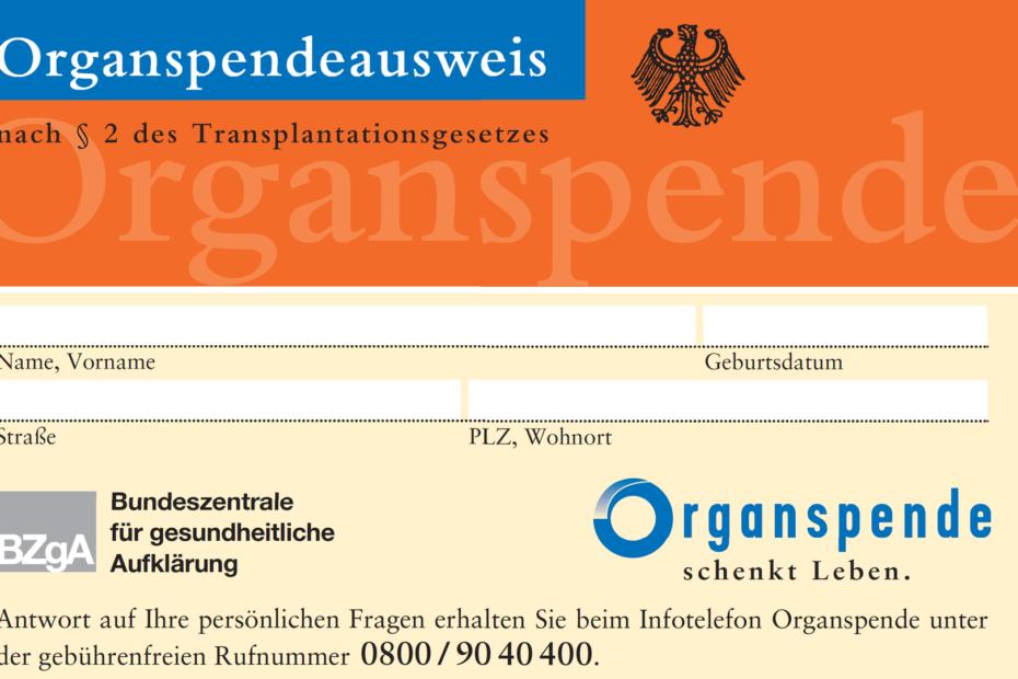 Organspende Ausweis - Vorderseite